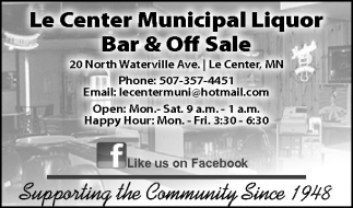 Supporting the Community Since 1948, Le Center Municipal Liquor Bar