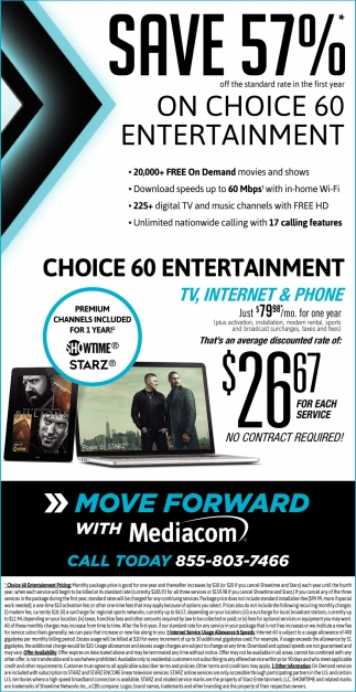 Save 57% on Choice 60 Entertainment, Mediacom Cable, Des Moines, IA