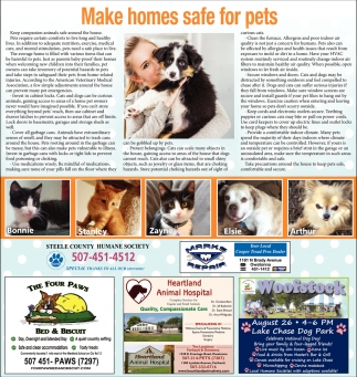 Make homes safe for pets, Steele County Humane Society, Faribault, MN