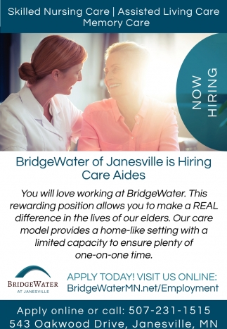 Skilled Nursing Care, Assisted Living Care, Memory Care, BridgeWater at Janesville, Janesville, MN