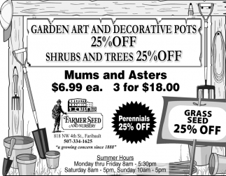 Garden Art and Decorative Pots 25% off shrubs and trees 25% off