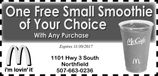 One Free Small Smoothie of Your Choice