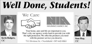 Well Done, Students!, Northfield Insurance Agency, Northfield, MN