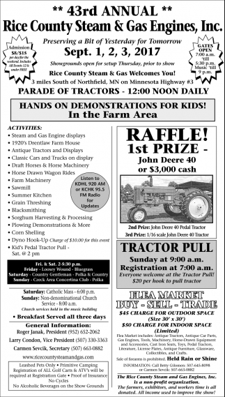 43rd annual Rice County Steam & Gas Engines, Inc