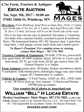 Estate Auction, Mages Land Company and Auction Service, New Ulm, MN