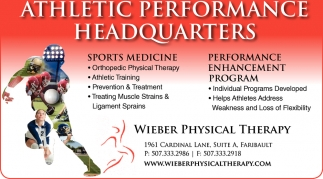 Athletic Performance Headquarters, Wieber Physical Therapy, Faribault, MN