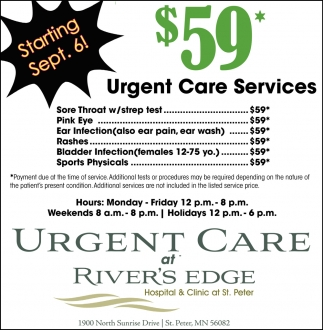 $59* Urgent Care Services