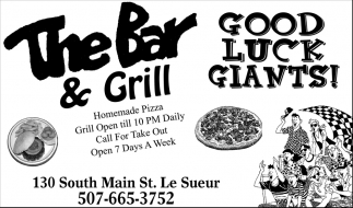 Good Luck Giants!, The Bar and Grill, Le Sueur, MN