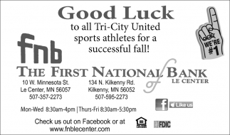 Good Luck to all Tri-City United sports athletes for a successful fall!