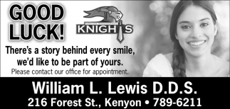 Good Luck Knights, William L. Lewis D.D. S., Kenyon, MN