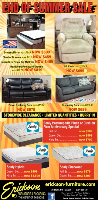 End of summer sale erickson furniture and flooring faribault mn