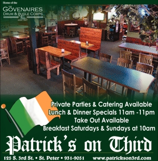 Private Parties & Catering Available, Patrick's on Third, St. Peter, MN