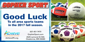 Good Luck to all area sports teams in the 2017 fall season!, Gopher Sport