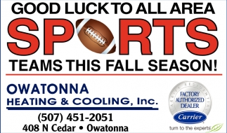 Good Luck to all area Sports teams this fall season!