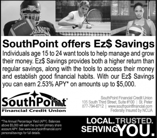 SouthPoint offers Ez$ Savings, SouthPoint Financial Credit Union, New Ulm, MN