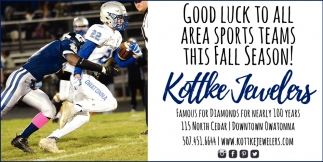 Good luck to all area sports teams this fall season!, Kottke Jewelers, Owatonna, MN