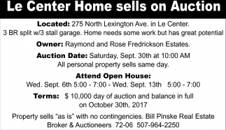 FredricksonLe Center Home sells on Auction, Bill Pinske Real Estate Broker and Auctioneers