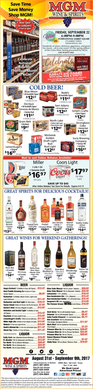 Save Time, Save Money, Shop MGM!, MGM Wine and Spirits, Mankato, MN