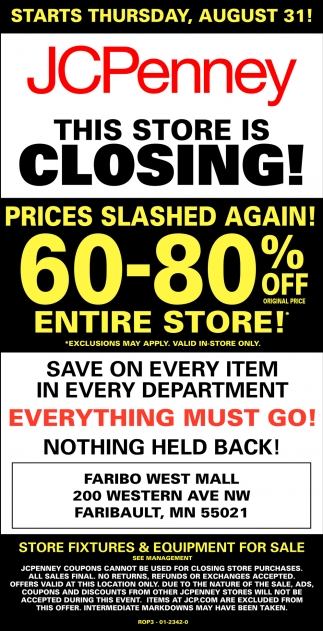 60 - 80% off everything!, JCPenney - Faribault, Plymouth, MN