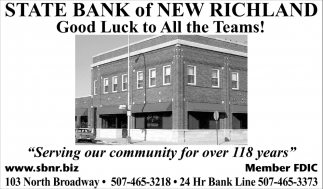 Good Luck to All the Teams!, State Bank Of New Richland, New Richland, MN