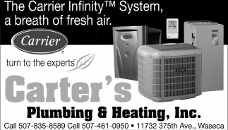 The Carrier Infinity System, a breath of fresh air, Carter's Plumbing and Heating, Inc, Waseca, MN