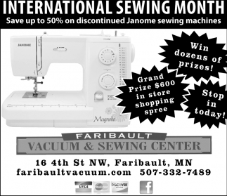 International Sewing Month, Faribault Vacuum and Sewing Center, Faribault, MN