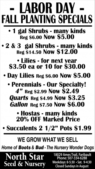 Labor Day Fall Planting Specials