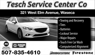 Tires, Batteries, Towing, Car Wash, Tesch Service Center, Waseca, MN