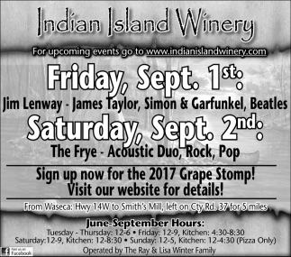 Sept. Week, Indian Island Winery, Janesville, MN