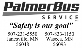 Safety is our goal, Palmer Bus Service