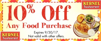 10% off Any Food Purchase, Kernel Restaurant, Owatonna, MN
