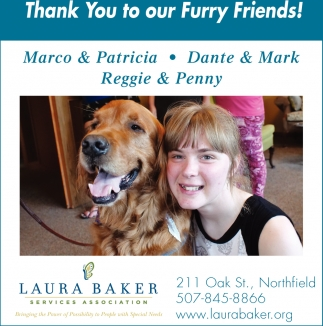 Thank You to our Furry Friends, Laura Baker Services Association, Northfield, MN