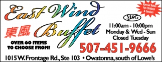 Special Rates for Children & Seniors, East Wind Buffet, Owatonna, MN