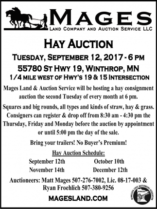 Hay Auction, Mages Land Company and Auction Service, Winthrop, MN
