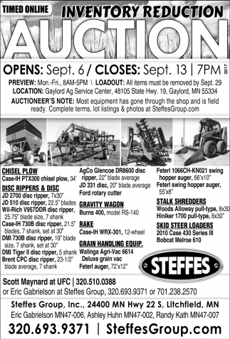 Inventory Reduction AUction, Steffes Group, West Fargo, ND