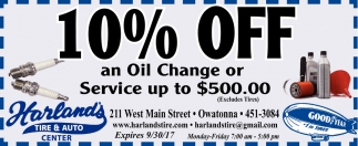10% Off Coupon, Harland's Tire and Auto Center, Owatonna, MN