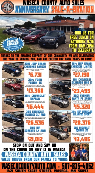 Anniversary Sale-A-Bration, Waseca County Autos