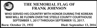 Memorial Flag of Frank Johnson