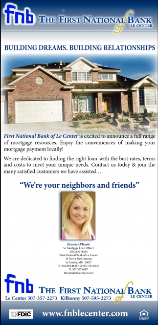 Full range of mortgage resources, The First National Bank Of Le Center, Le Center, MN