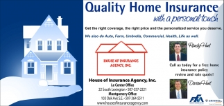 Quality Home Insurance with a personal touch, House Of Insurance Agency, Inc, Le Center, MN