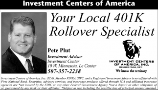 Your Local 401K Rollover Specialist, Investment Centers of America: Pete Plut, Le Center, MN