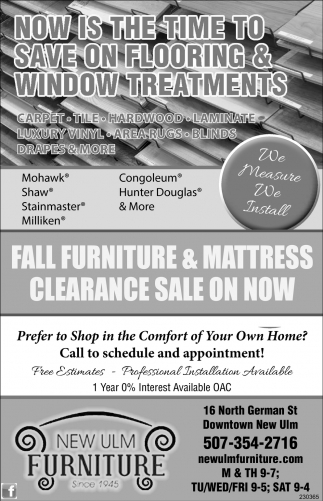 Fall Furniture Mattress Clearance On Now New Ulm Mn