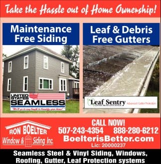 Seamless Steel and Vinyl Siding, Windows, Roofing, Gutter