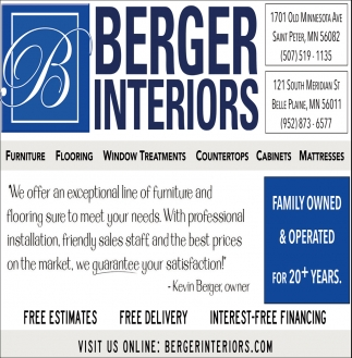 Free Estimates & Delivery, Berger Interiors, Belle Plaine, MN