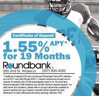 1.55% apy* for 19 months, Round Bank, Waseca, MN