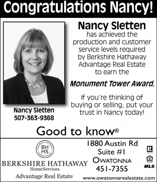 Congratulations Nancy Sletten
