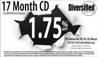17 Month CD $2,500 Minimun Deposit, Diversified Credit Union, Minneapolis, MN