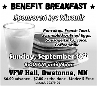 Benefit Breakfast, VFW Veterans Of Foreign Wars Post 3723 and Auxiliary, Owatonna, MN