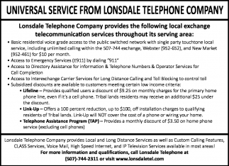 UNIVERSAL SERVICE FROM LONSDALE TELEPHONE COMPANY