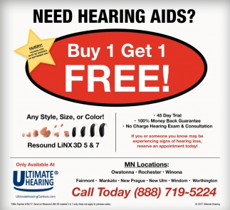 Buy 1 Get 1 FREE!, Ultimate Hearing , West Des Moines, IA